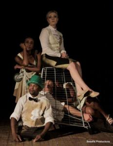 Zama Sonjica, front, Grace Babalwa Nosilela and Henk Opperman, inside trolley, and Bronwyn Reddy and Bianca de Klerk, back (Pic by Betalife Productions).