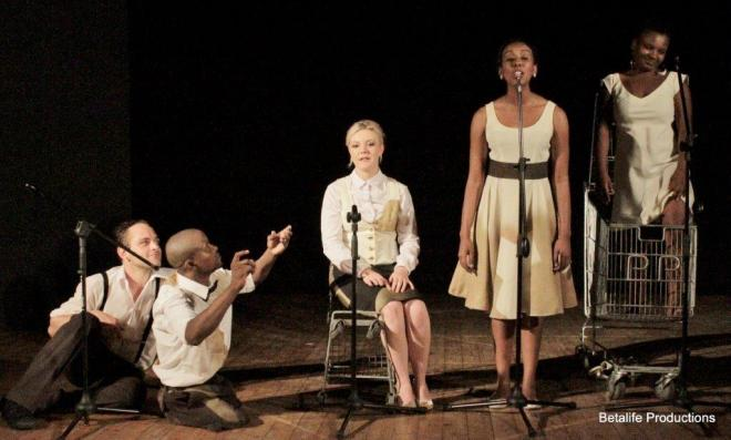 From left, Henk Opperman, Zama Sonjica, Bianca de Klerk, Bronwyn Reddy and Grace Babalwa Nosilela (Pic by Betalife Productions).
